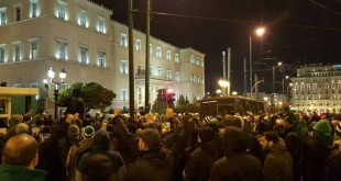 Διαμαρτυρία στη βουλή από οπαδούς του Παναθηναϊκού (vid)