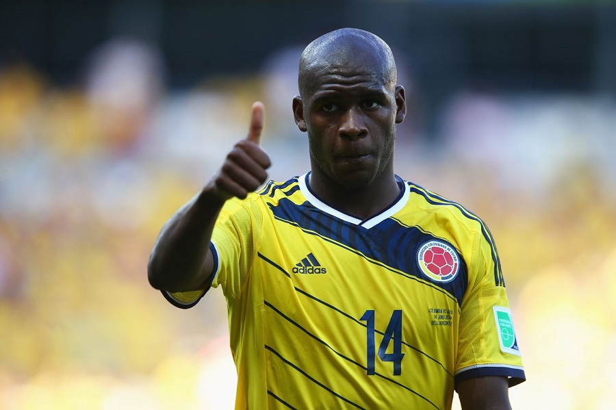 BELO HORIZONTE, BRAZIL - JUNE 14:  Victor Ibarbo of Colombia reacts during the 2014 FIFA World Cup Brazil Group C match between Colombia and Greece at Estadio Mineirao on June 14, 2014 in Belo Horizonte, Brazil.  (Photo by Alex Grimm - FIFA/FIFA via Getty Images)