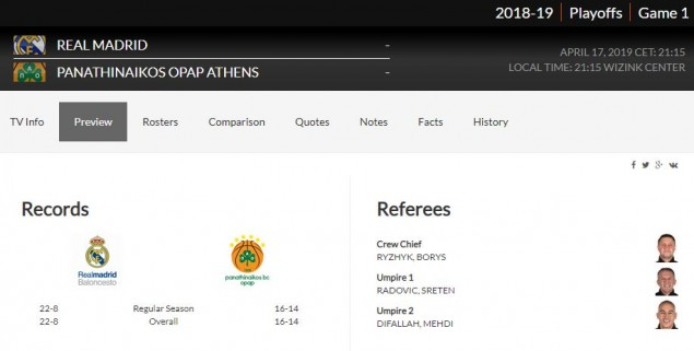 Ορίστηκαν οι διαιτητές για το «Game 1» Ρεάλ Μαδρίτης - Παναθηναϊκός (pic)