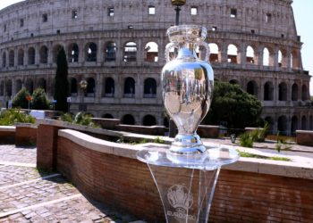 ROME, ITALY - APRIL 20: A general view of the UEFA EURO, EM, Europameisterschaft,Fussball 2020 Trophy in front of the Colosseo during the UEFA Euro 2020 Trophy Tour at Rome on April 20, 2021 in Rome, Italy. Photo by Paolo Bruno/Getty Images/UEFA/Insidefoto andreaxstaccioli