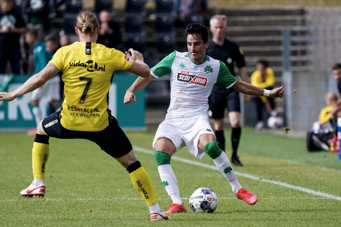 VENLO, NETHERLANDS - JULY 31: Guus Hupperts of VVV Venlo and Carlos Perez Juan of Panathinaikos FC during the Pre-season Friendly match between VVV-Venlo and Panathinaikos FC at Covebo Stadion De Koel on July 31, 2021 in Venlo, Netherlands (Photo by Jeroen Meuwsen/Orange Pictures)